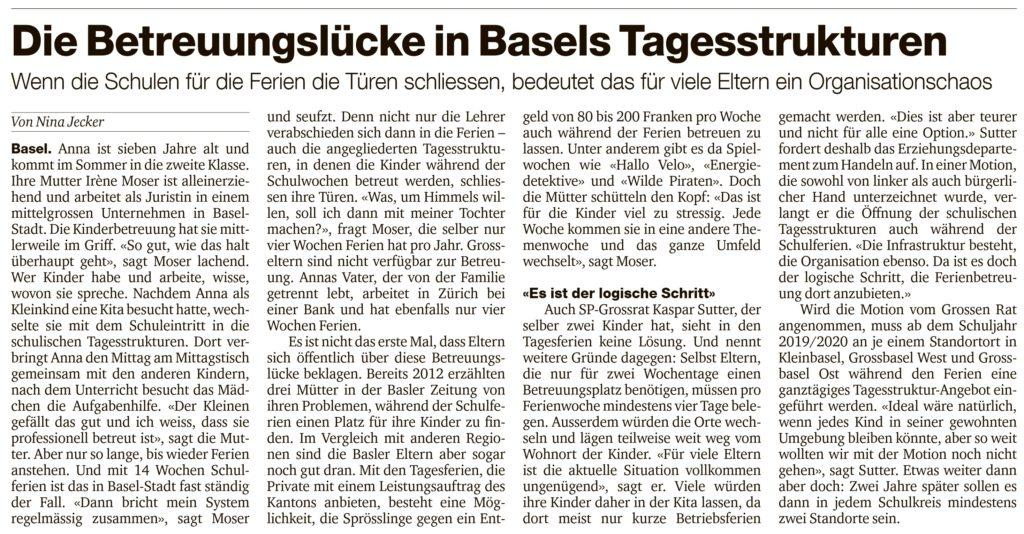 Kaspar Sutter Tagesstrukturen Basel